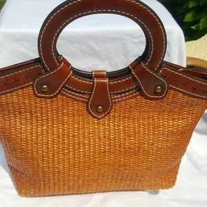 Fossil Genuine leather and straw mini handbag.